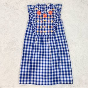 J crew girls gingham ruffle floral cotton dress